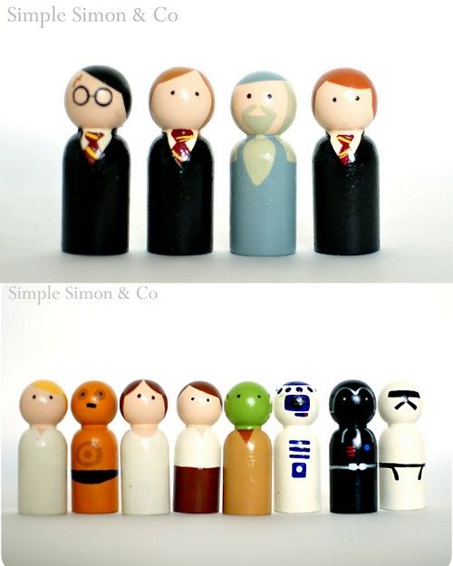 DIY Harry Potter and Star Wars Peg People. Go to Casey's Wood Products here. Order these wooden peg people, paint them or use sharpies...