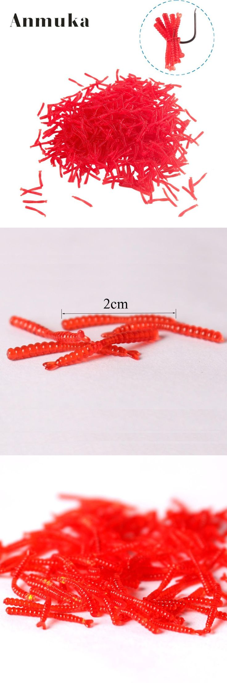 [Visit to Buy] Anmuka hot-selling 200pcs Smell red worm lures 2cm soft bait carp fishing lure set artificial fishing tackle FREESHIPPING #Advertisement