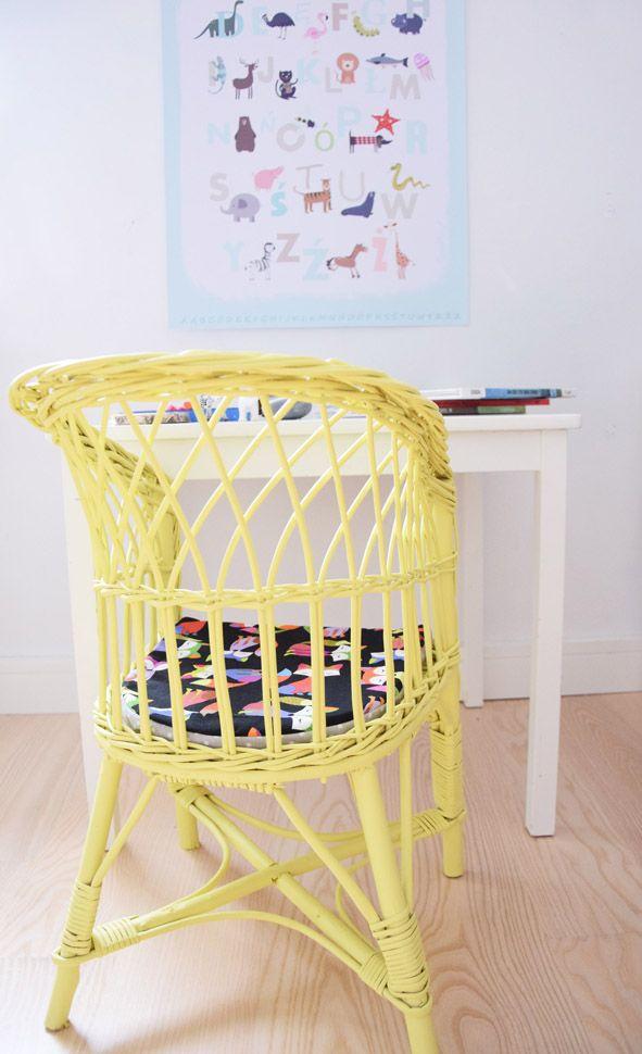 Yellow wicker chair for children