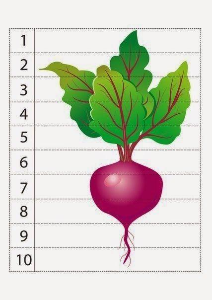 Предложите малышам собрать вот такие математические пазлы, а заодно повторите  названия овощей .