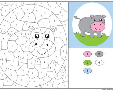 knep, knåp, knep och knåp, knep & knåp, förskola, skola fritids, barnpyssel, pyssel, pyssel för barn, pyssla och lek, lär dig räkna, räkna, dra streck mellan siffror, dra streck, nummer, siffror, lära sig räkna till 5, lära sig räkna till fem, matte, matematik, mattepyssel, måla efter numren, färglägga, färglägga efter siffrorna, flodhäst, djur, safaridjur, målarbild, målarbild för barn, bilder att färglägga