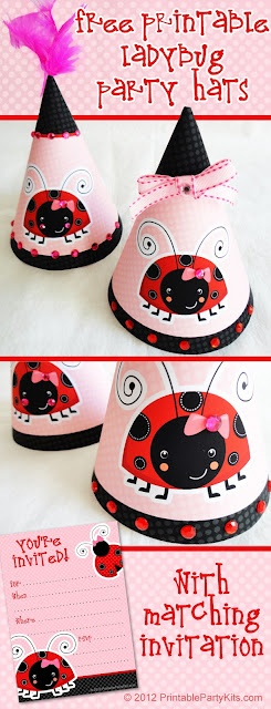 Free Printable Ladybug Party Hats and Matching Invitations