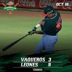 Mérida, Yuc. (www.leones.mx / Mario Serrano) 16 de octubre.- Los Leones de Yucatán deleitaron a su afición con un triunfo 5-3 sobre Vaqueros...
