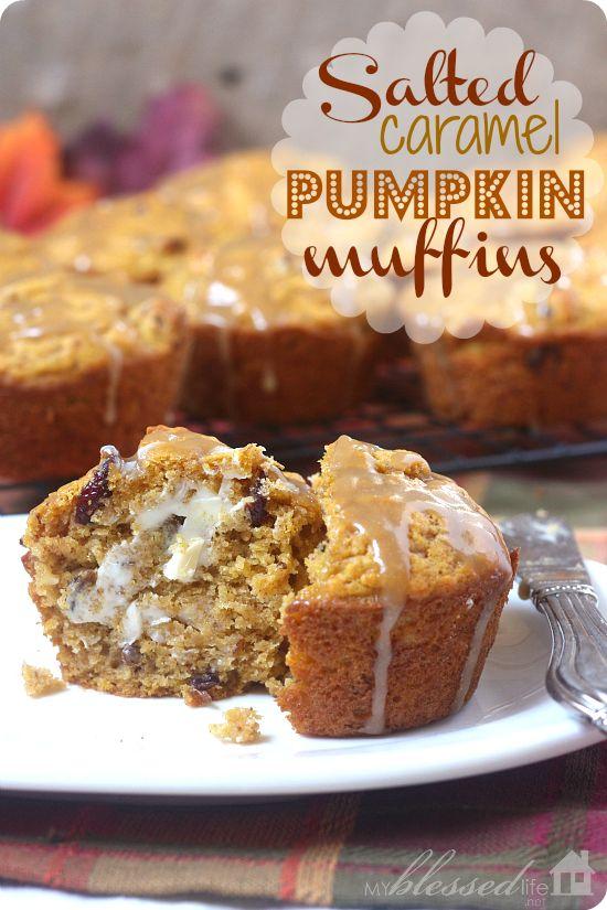 Salted Caramel Pumpkin Muffins | MyBlessedLife.net