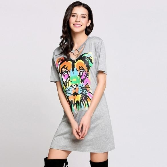 Short Sleeve V Neck Chocker Animal Print T-Shirt Casual Dress