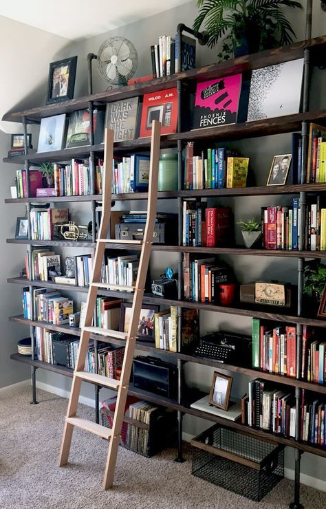 Library Ladder and pipe shelves...this is it!!!