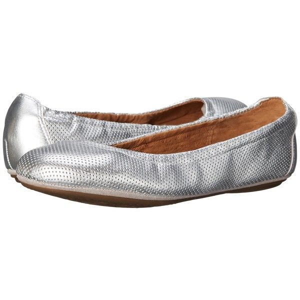 Clarks Grayson Erica Women's Slip on Shoes ($100) ❤ liked on Polyvore featuring shoes, flats, ballet flat shoes, leather shoes, ballet flats, ballet shoes and metallic ballet flats