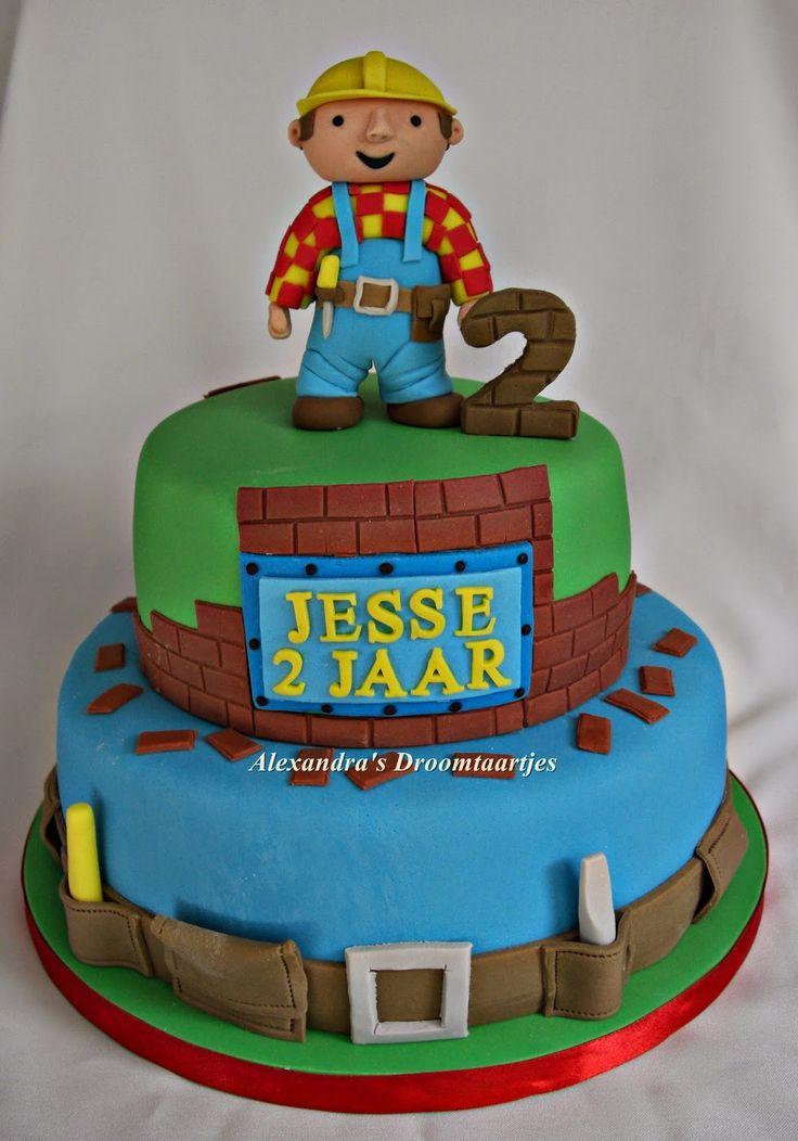 Deze Bob de Bouwer taart heb ik gemaakt voor de verjaardag van een jongen die 2 jaar is geworden.  This Bob the Builder cake I made for a boy who became 2 years old.