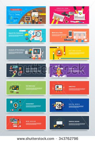 Set concept pay per click, startup and analitics. Media social marketing, web, design, business plan, solution task, analysis and action, pay per click and seo, startup and analitics illustration