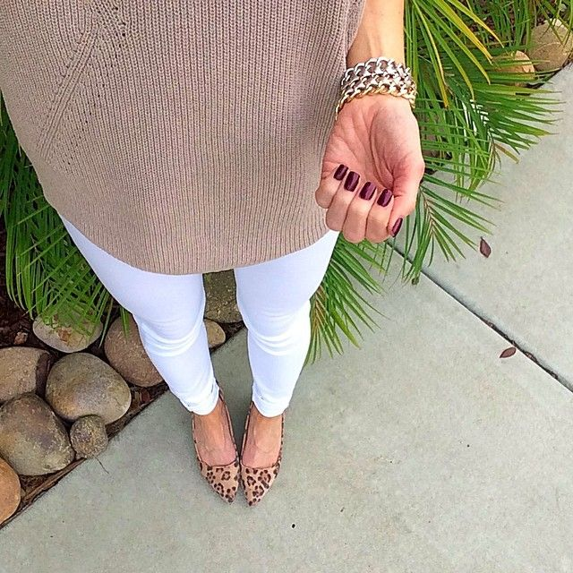@ontheDailyX - Express London Sweater in Light Sand + Express Mid Rise White Jean Leggings + Express Bracelet + Sole Society Juli Leopard Wedge Pumps