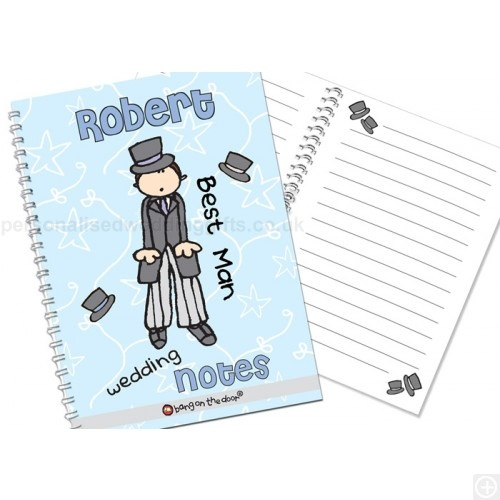 £7.95.Don't let the Best Man or Father of the Bride or Groom forget his tasks or the all important speech, with this Personalised Bang on the Door Wedding Male Notebook which can be personalised on the front using 12 characters - and his special role in your wedding using up to 20.Amusingly decorated on the front cover with a Wedding Male motif, and with the text, 'wedding' and 'notes' as standard, the notebook contains 40 double sided lined A5 pages designed to help each male member of your…