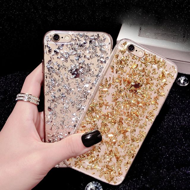 Oro bling de la lentejuela del paillette cubierta para iphone 7 tpu caso suave para el iphone 6 7 6 s 5 5S sí caucho volver fundas para iphone 7 6 6 s plus