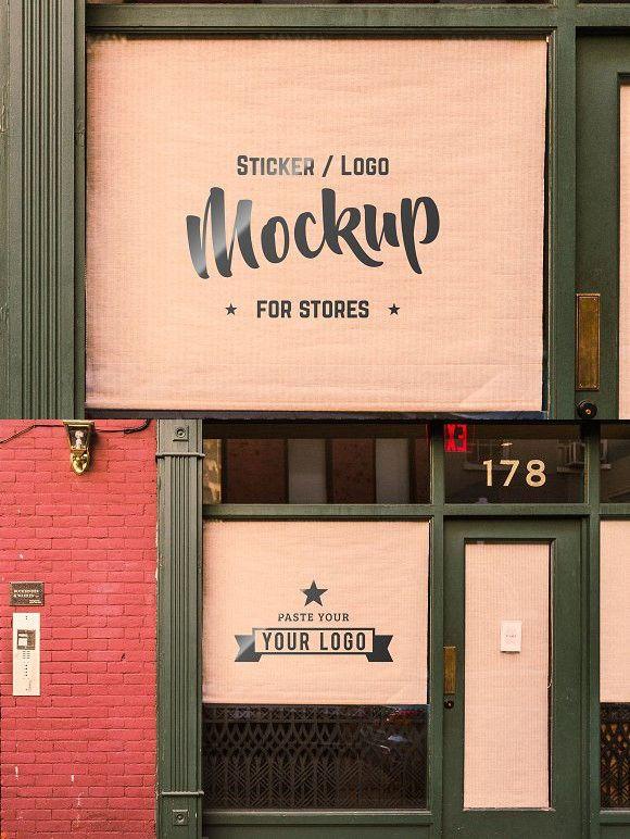 Storefront Sticker Sign Logo Mockup Sticker Sign Storefront Signs Shop Logo