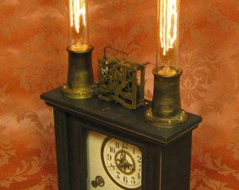 Steampunk Clock Lamp Steam Punk Clock Light Victorian  Desk Lamp Vintage Antique Light Victorian Lamp Home Decor By Victorian Machines