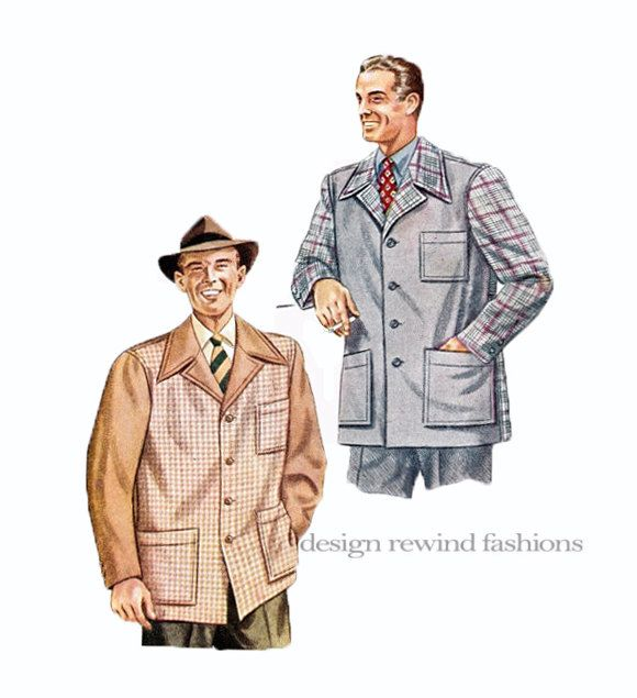 1940s MENS SPORTS Jacket Pattern WWII Mens Single Breasted Contrasting Sleeves McCalls 5628 Chest Size 34 36 Small Mens Sewing Patterns by DesignRewindFashions on Etsy
