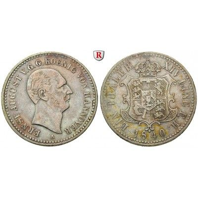 Braunschweig, Königreich Hannover, Ernst August, Taler 1840, ss: Ernst August 1837-1851. Taler 1840 A. AKS 102; sehr schön, l.… #coins