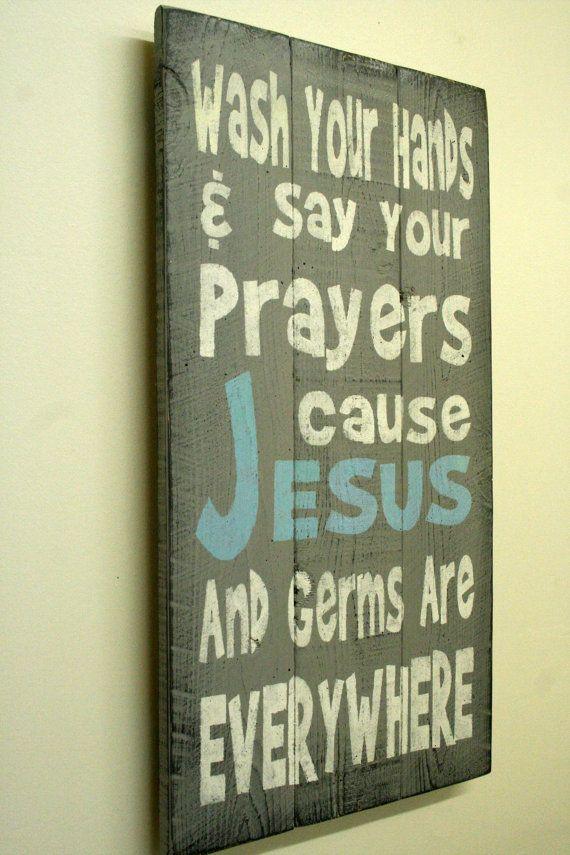 Sign Bathroom Sign Kids Sign Religious Sign Christian Sign Pallet Sign