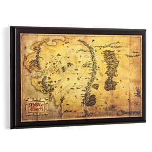 Now you can show off your knowledge of the landscape, and follow along your favorite character's adventure in The Lord of the Rings or The Hobbit: An Unexpected Journey with this beautiful wood mounted map of Middle Earth.