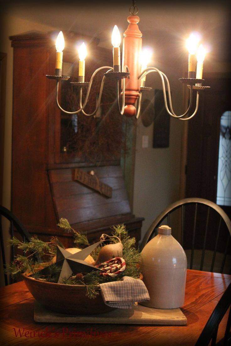 Christmas at the Weirick's........ https://www.facebook.com/pages/Weiricks-Primitives/182707055133836 primitive ~ farmhouse table ~ crocks ~ Jugs ~ wooden bowls ~ candy canes ~ decor