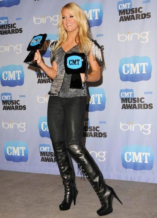 Pin By York On Carrie Underwood In 2020 Country Outfits Women Carrie Underwood Black Leather Knee High Boots