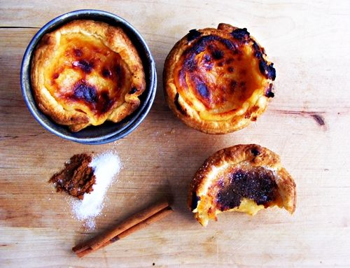 Recipe both in Portuguese and English on how to make 'pastéis de nata'.