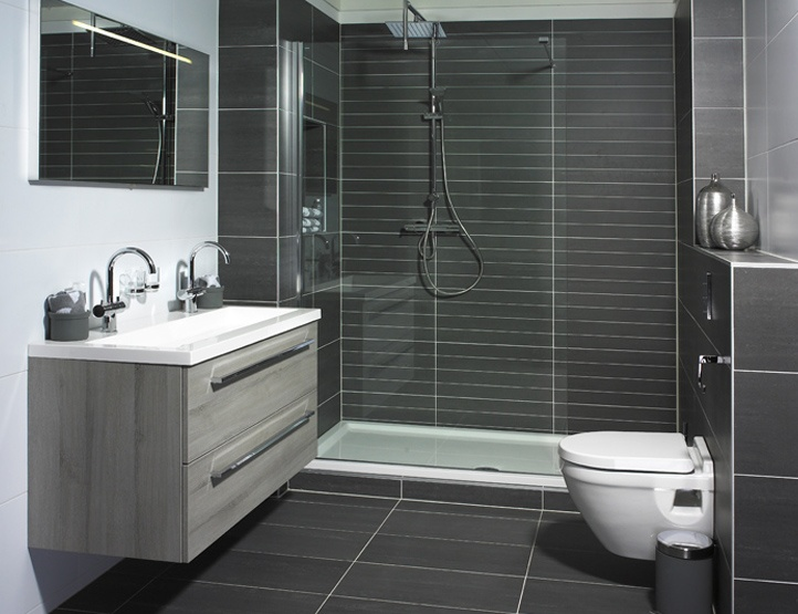 Dark grey shower tiles bathroom pinterest tile for Bathroom ideas gray tile