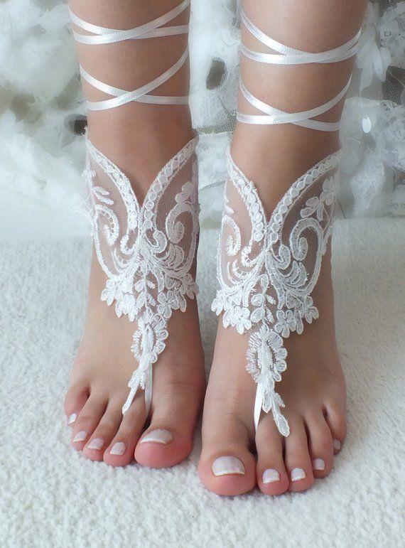 14b13b2b1 Ivory lace barefoot sandals Bridal shoes Wedding shoes