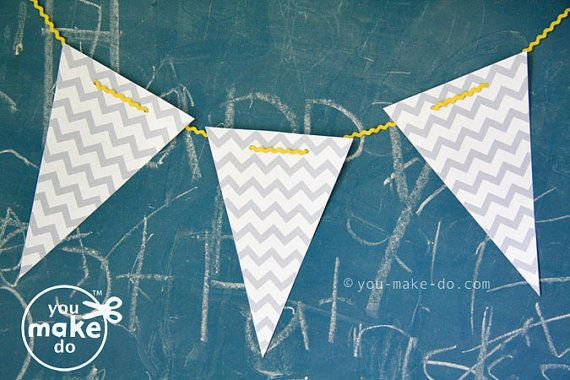 INSTANT DOWNLOAD grey chevron banner printables  by youmakedo, $1.99