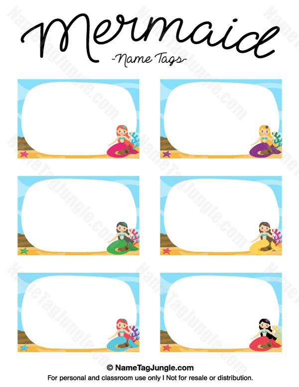 Free printable mermaid name tags the template can also be used for creating items like labels for Mermaid templates printable