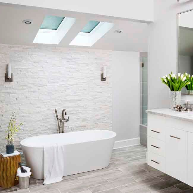 Make Photo Gallery White Luxury Bathroom stand alone soake tub floating vanity natural stone wall natural