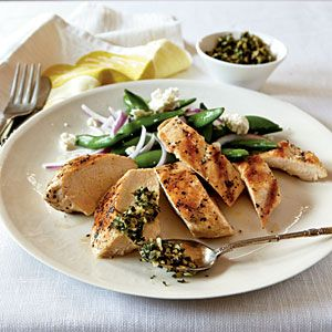 Grilled Chicken with Mint and Pine Nut Gremolata | MyRecipes.com: Nut Gremolata, Heart Healthy Chicken, Chicken Recipes, Grilled Chicken, Low Cholesterol, Pine Nut, Healthy Food, Weights Loss, Chicken Breast
