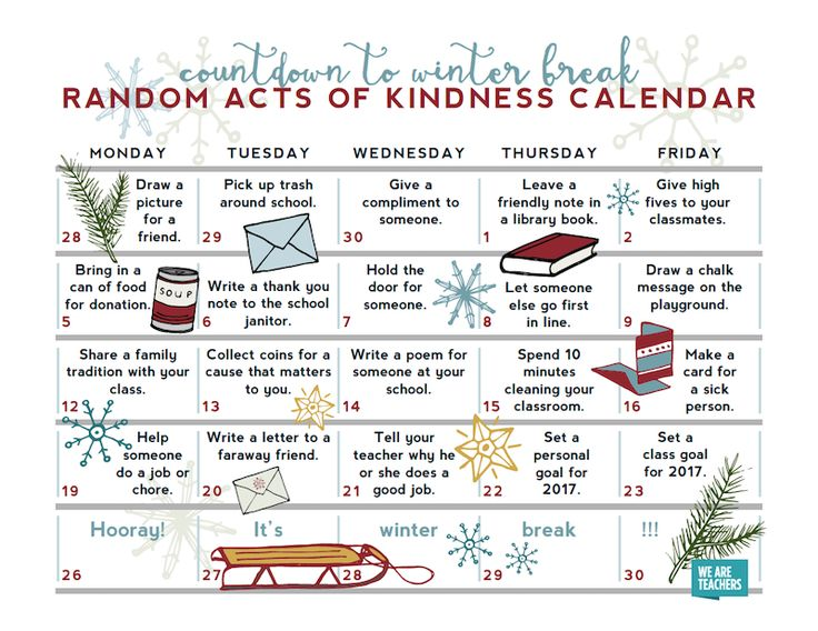 Have your students complete these random acts of kindness this December