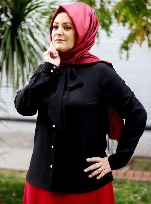 Fularlı Bluz - Sıyah - Saliha :: Zinde Market