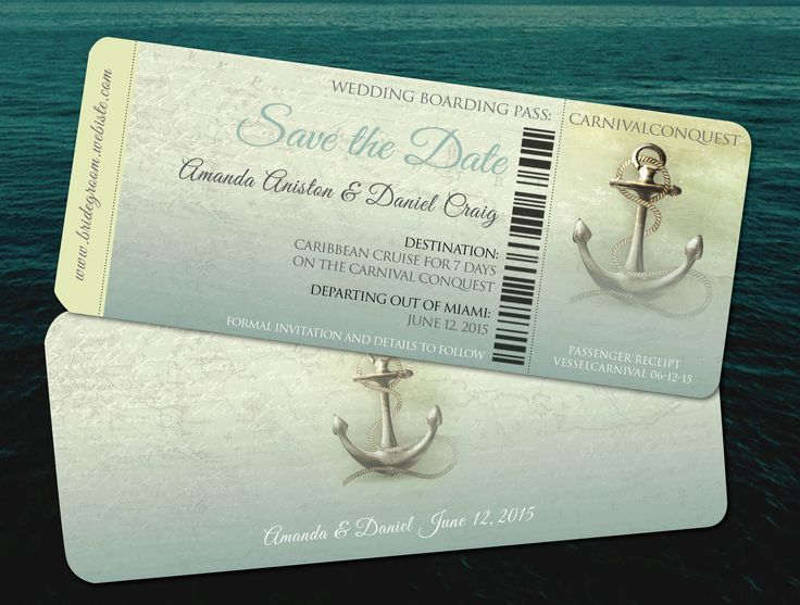 Wedding Cruise boarding passes Save the Date