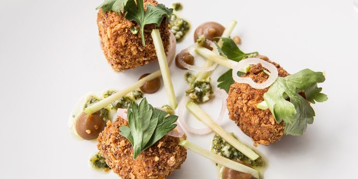 A recipe for crisp pork croquettes from chef Paul Welburn, made with pig's head and ham hock and served with refreshing apple.