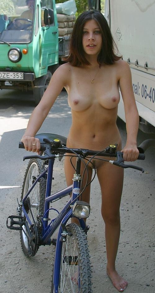 Excited Nude girls at motor cycle think, that