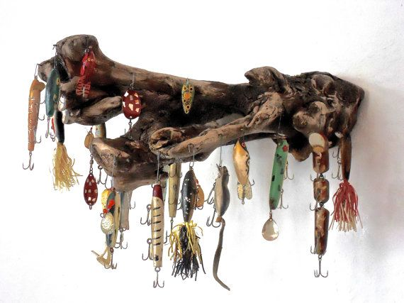 20 Vintage Folk Art Fishing Lures With Driftwood Wall by MarcyRuth