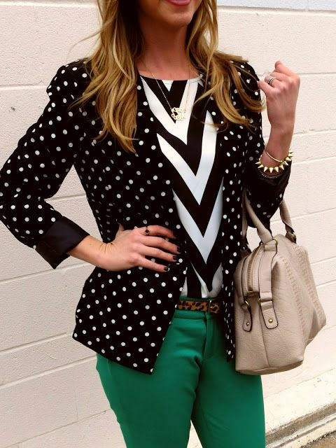 black and white pattern mix, green pants, minus the tacky leopard belt, ANIMAL PRINTS BELONG ON ANIMALS NOT PEOPLE, ugh so fucking tacky