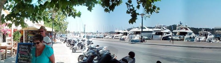 New Port Skiathos summer afternoon mobile wide view