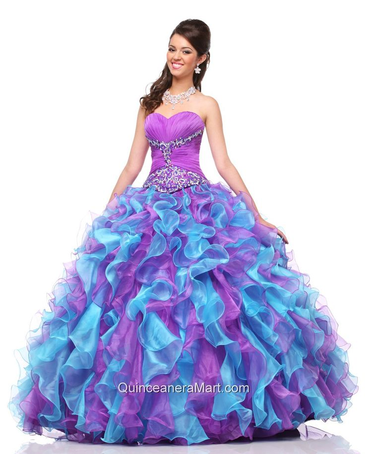 2014 Beautiful Sweetheart Multi-colored Beading and Ruffles Quinceanera Dresses