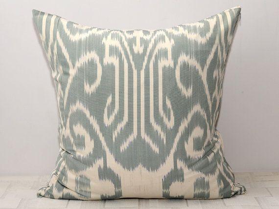 20x20 grey ikat grey pillow blue ikat pillow blue by SilkWay, $29.69