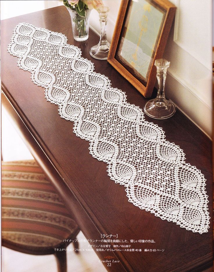Crochet Pineapple Pattern http://www.creatiblogs.es/post/table-runner-camino-de-pinas-fid-166804 http://www.shougong8.com/wp-content/uploads/2012/07/%E8%95%BE%E4%B8%9D%E6%A1%8C%E6%97%97-1.jpg