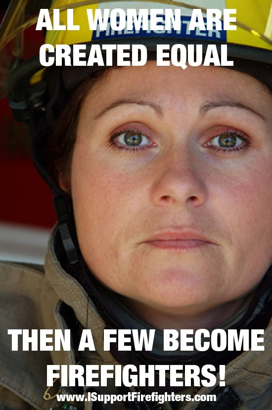 This is the image of Marine as she makes her commitment to become a firefighter.