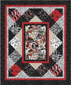 "Check out our FREE ""Hip To The Jive"" quilt pattern using the collection, ""That's Jazz"" by Maria Kalinowski for Kanvas Studio. Designed by Stitched Together Studios. Finished size: 62"" x 74""."