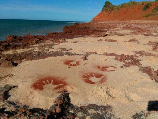 Red sand hand prints at Francois Peron National Park