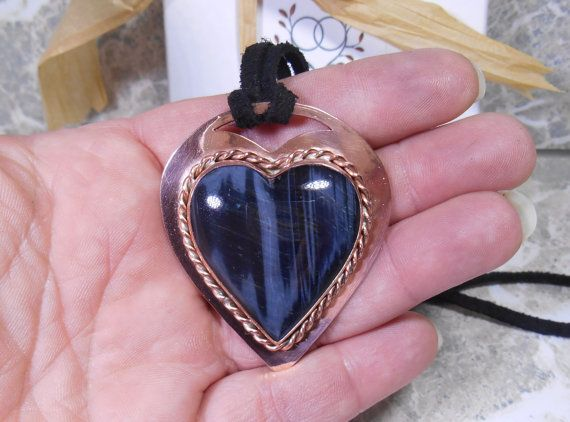 Stone Heart Pendant Tiger Eye Pendant Heart by SnazzyTrinkets