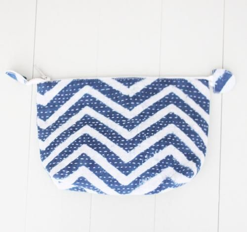 POUCH by Tikau (SMALL, BLUE/WHITE ZICKZACK)