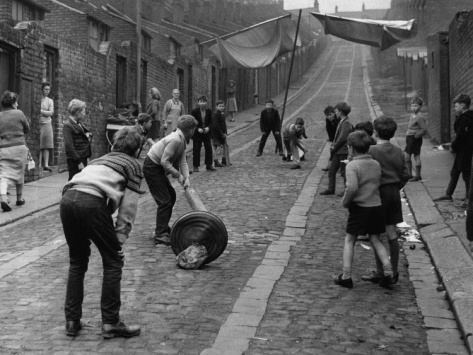 Children Playing Cricket In The Back Streets Of Newcastle