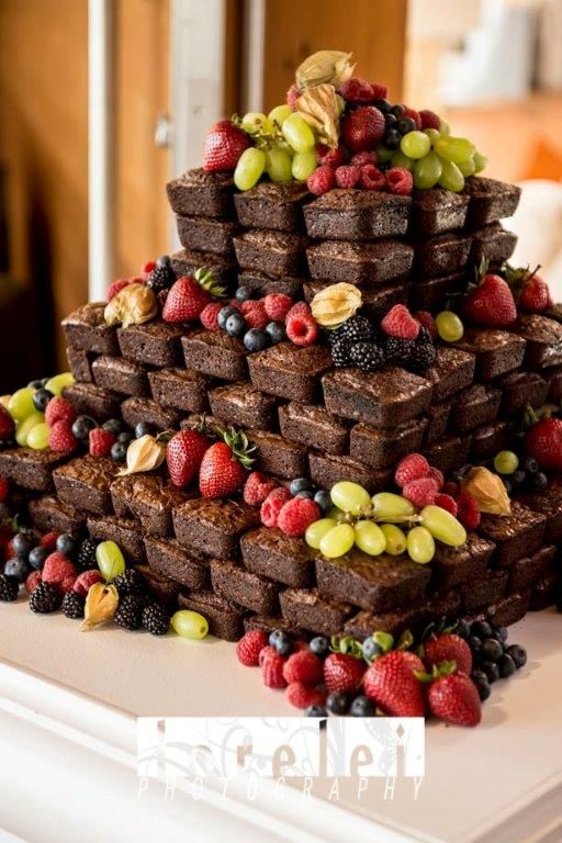 Brownie Wedding Cake - A tower of 4-bite brownies adorned with fresh fruit. Thanks for looking!