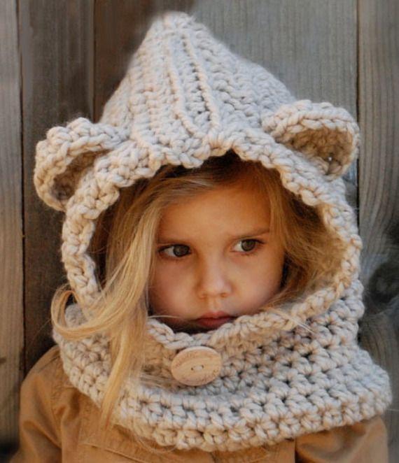 Snood-capuche à oreilles, réalisé en crochet - de 2 ans à 15 ans - Boutique Froufrous et petits petons - A little market                                                                                                                                                                                 Plus